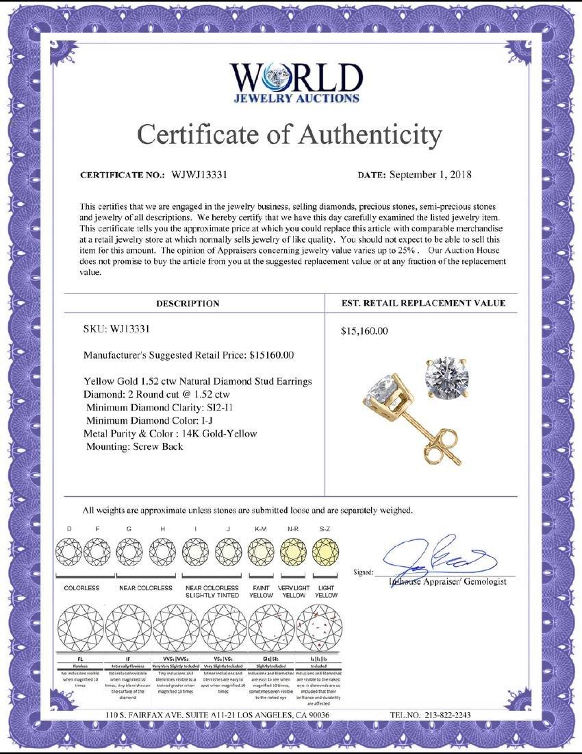 14K Yellow Gold 1.52 ctw Natural Diamond Stud Earrings - 2