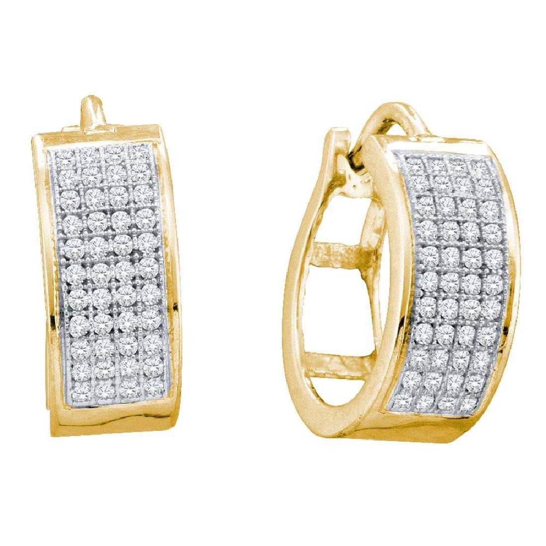 0.25 CTW Diamond Huggie Earrings 10KT Yellow Gold -