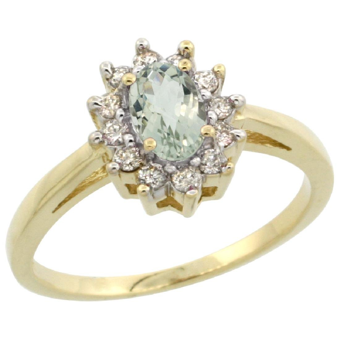 Natural 0.67 ctw Green-amethyst & Diamond Engagement