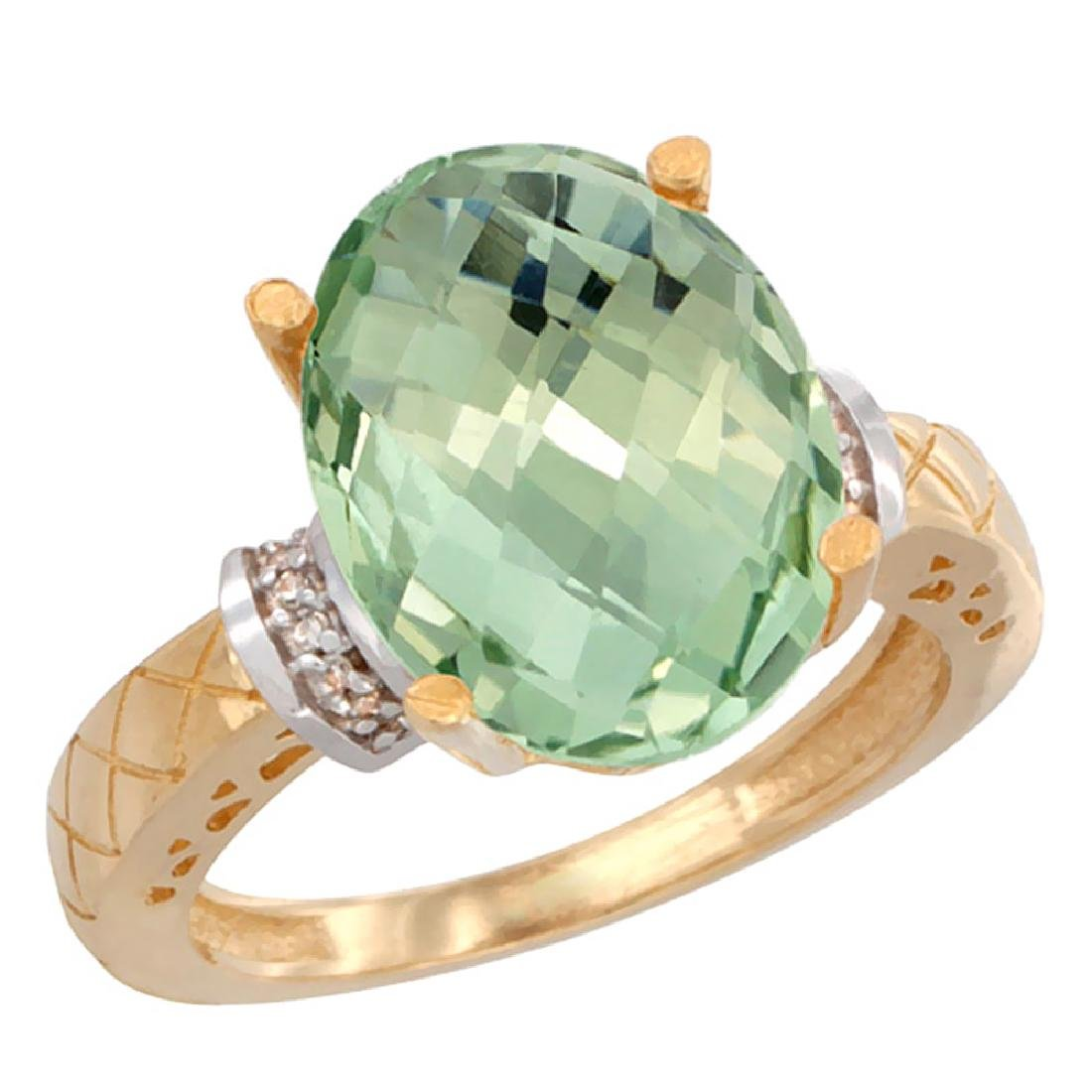 Natural 5.53 ctw Green-amethyst & Diamond Engagement