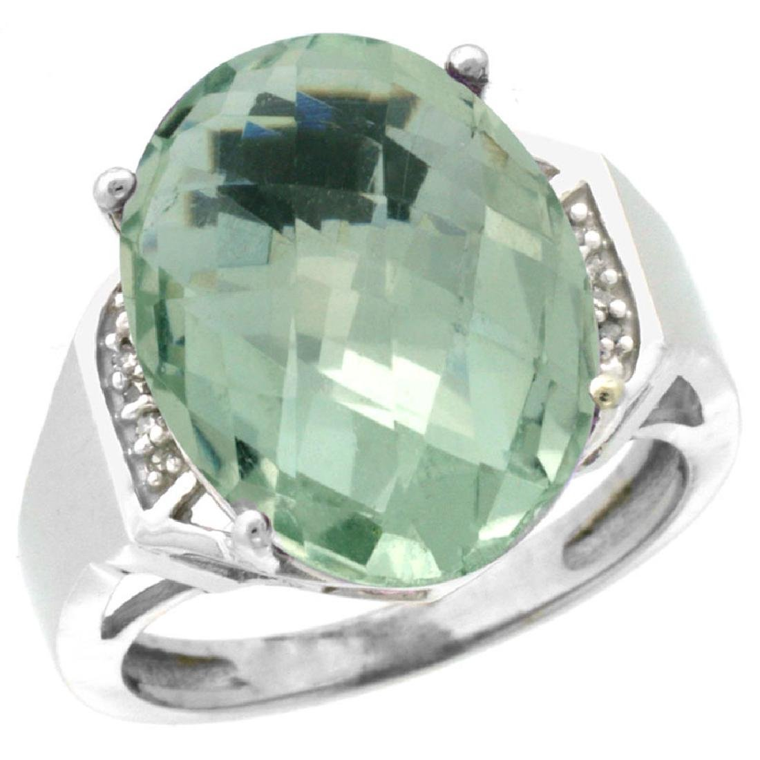 Natural 11.02 ctw Green-amethyst & Diamond Engagement