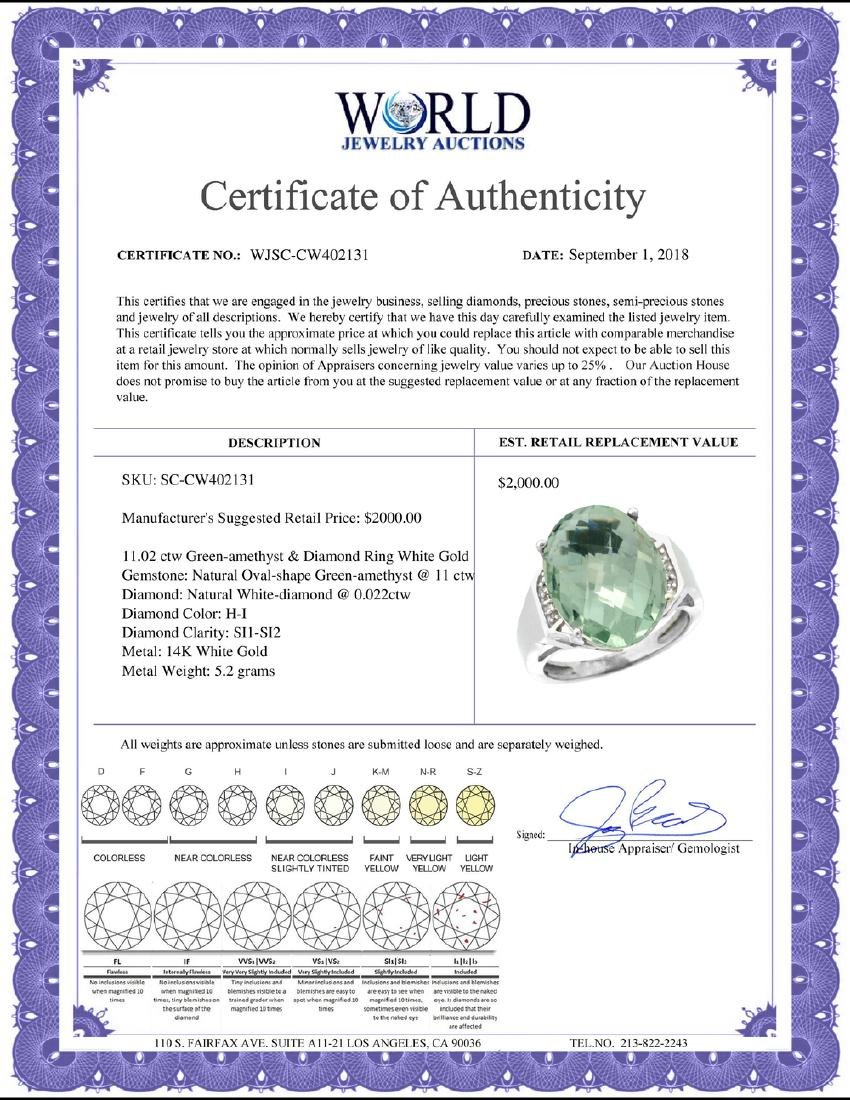 Natural 11.02 ctw Green-amethyst & Diamond Engagement - 2