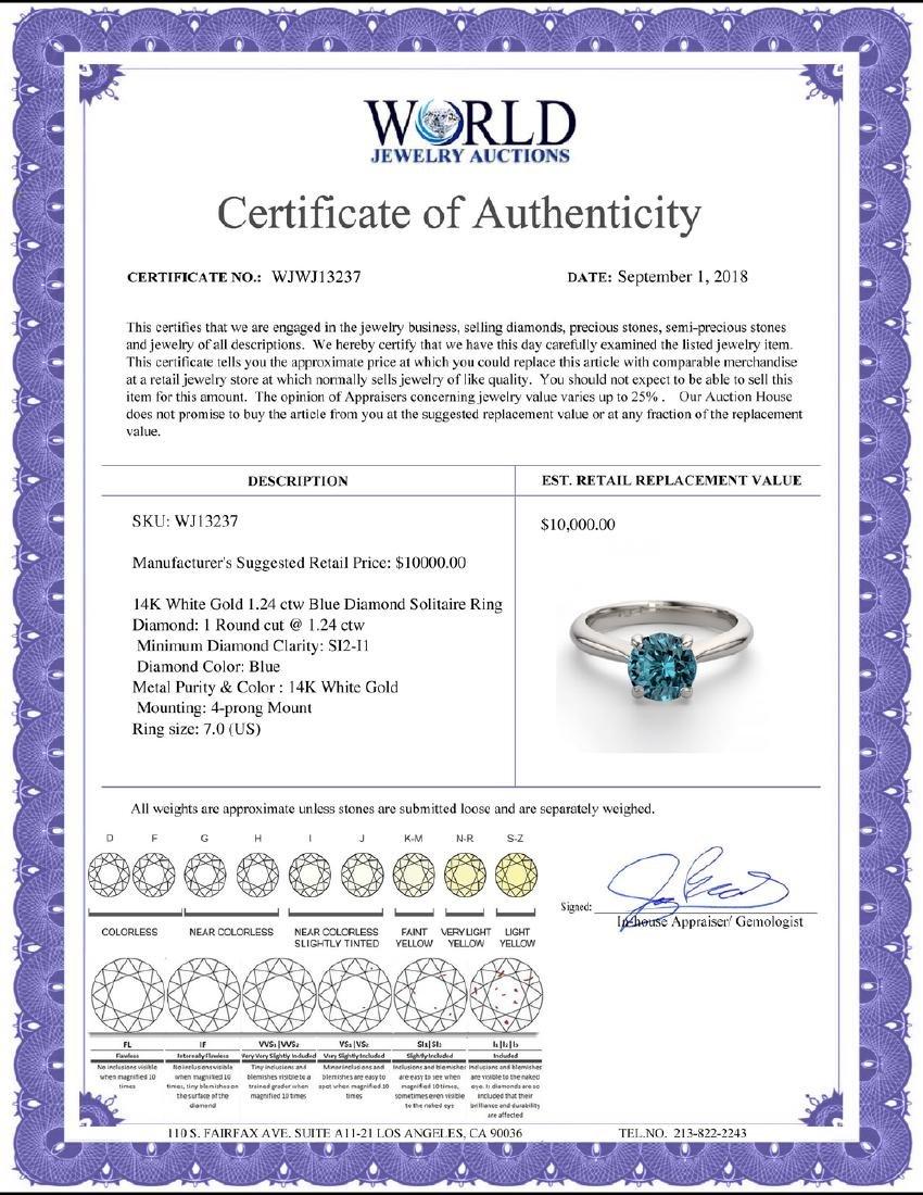 14K White Gold 1.24 ctw Blue Diamond Solitaire Ring - - 2