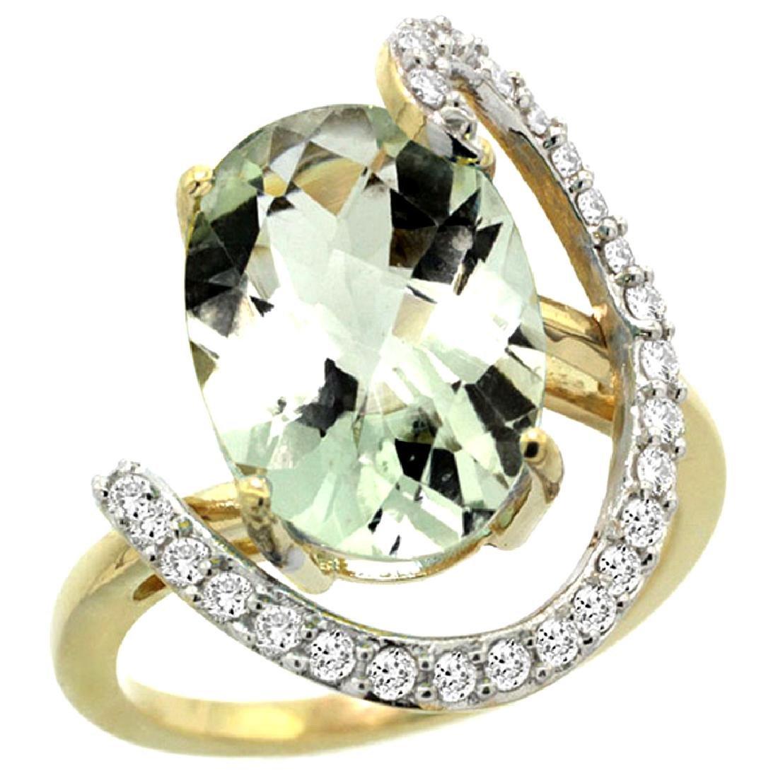 Natural 5.89 ctw Green-amethyst & Diamond Engagement