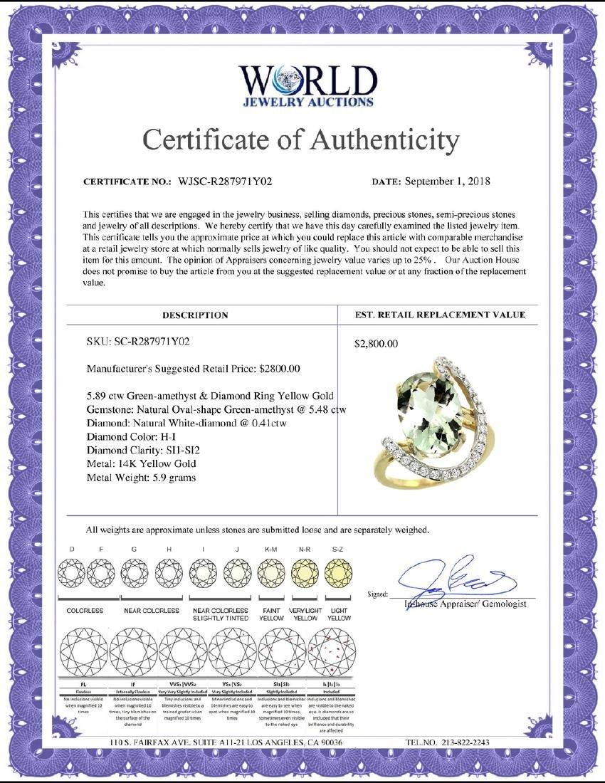 Natural 5.89 ctw Green-amethyst & Diamond Engagement - 2