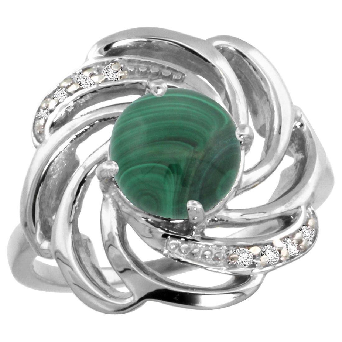 Natural 5.15 ctw malachite & Diamond Engagement Ring