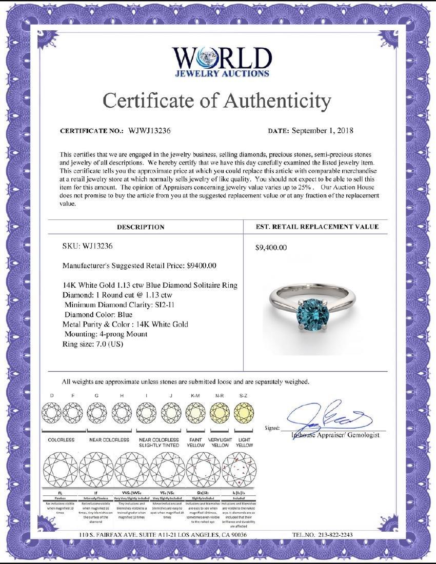 14K White Gold 1.13 ctw Blue Diamond Solitaire Ring - - 2