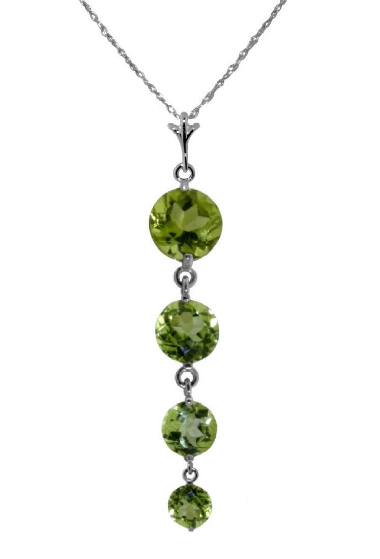 Genuine 3.9 ctw Peridot Necklace Jewelry 14KT White