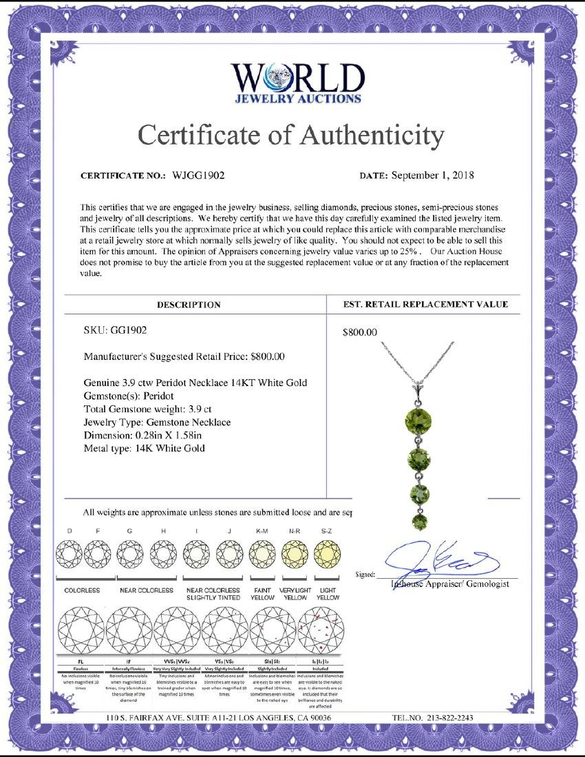 Genuine 3.9 ctw Peridot Necklace Jewelry 14KT White - 2