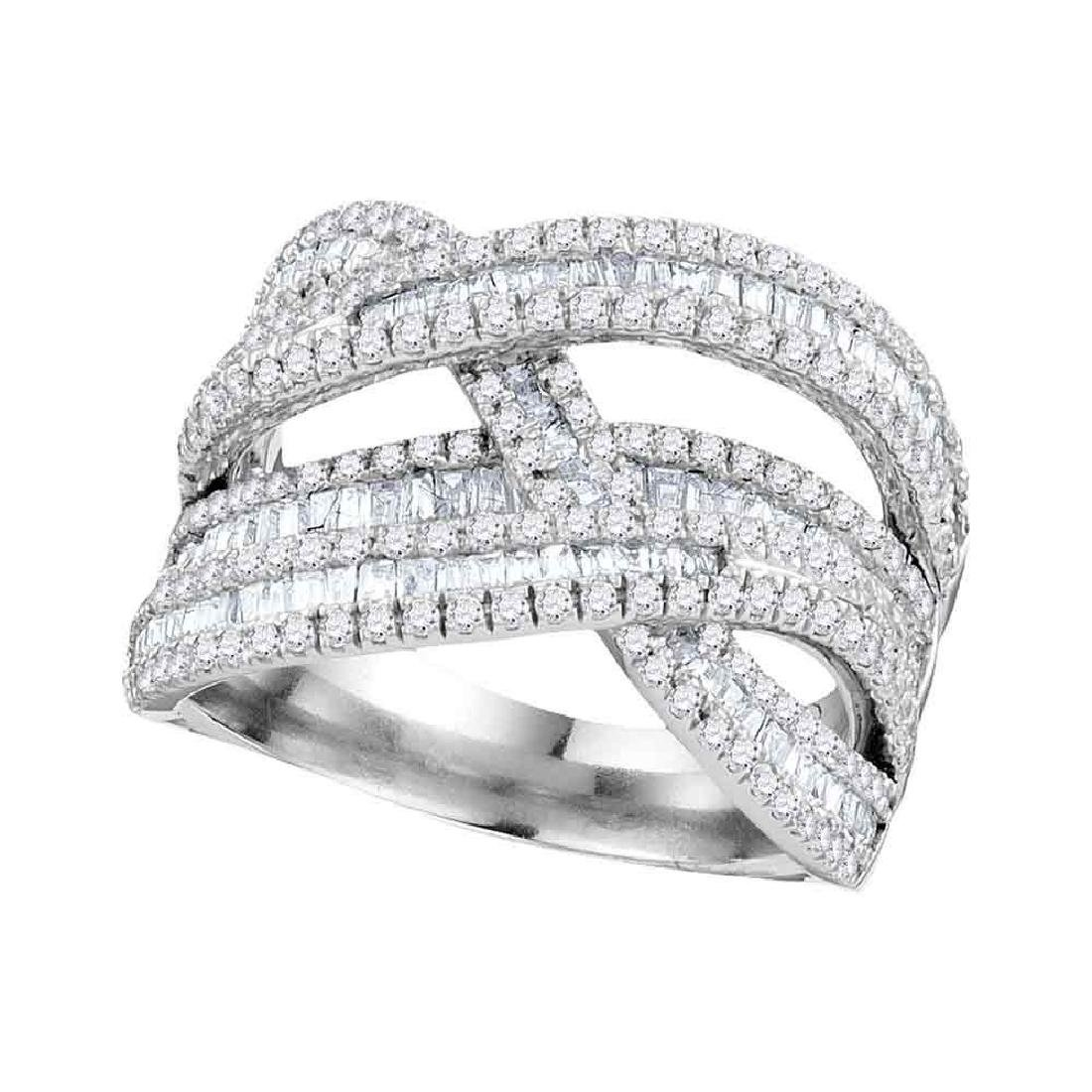 1.84 CTW Diamond Crossover Woven Strand Ring 10KT White
