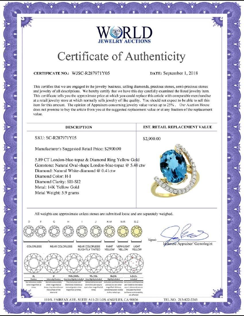 Natural 5.89 ctw London-blue-topaz & Diamond Engagement - 2