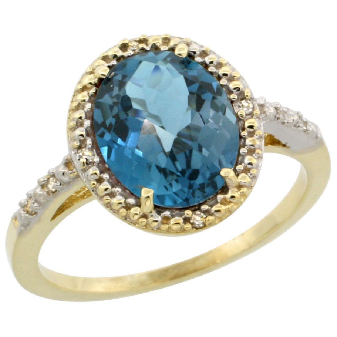 Natural 2.42 ctw London-blue-topaz & Diamond Engagement