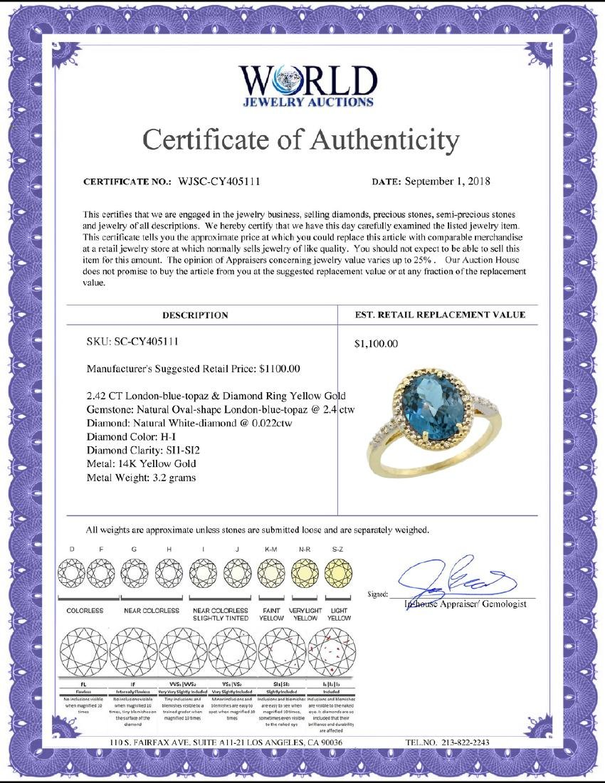 Natural 2.42 ctw London-blue-topaz & Diamond Engagement - 2