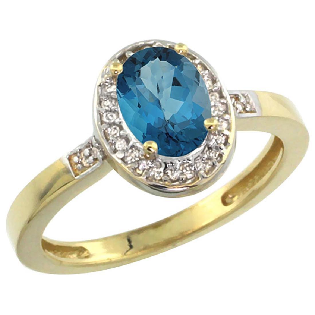 Natural 1.08 ctw London-blue-topaz & Diamond Engagement