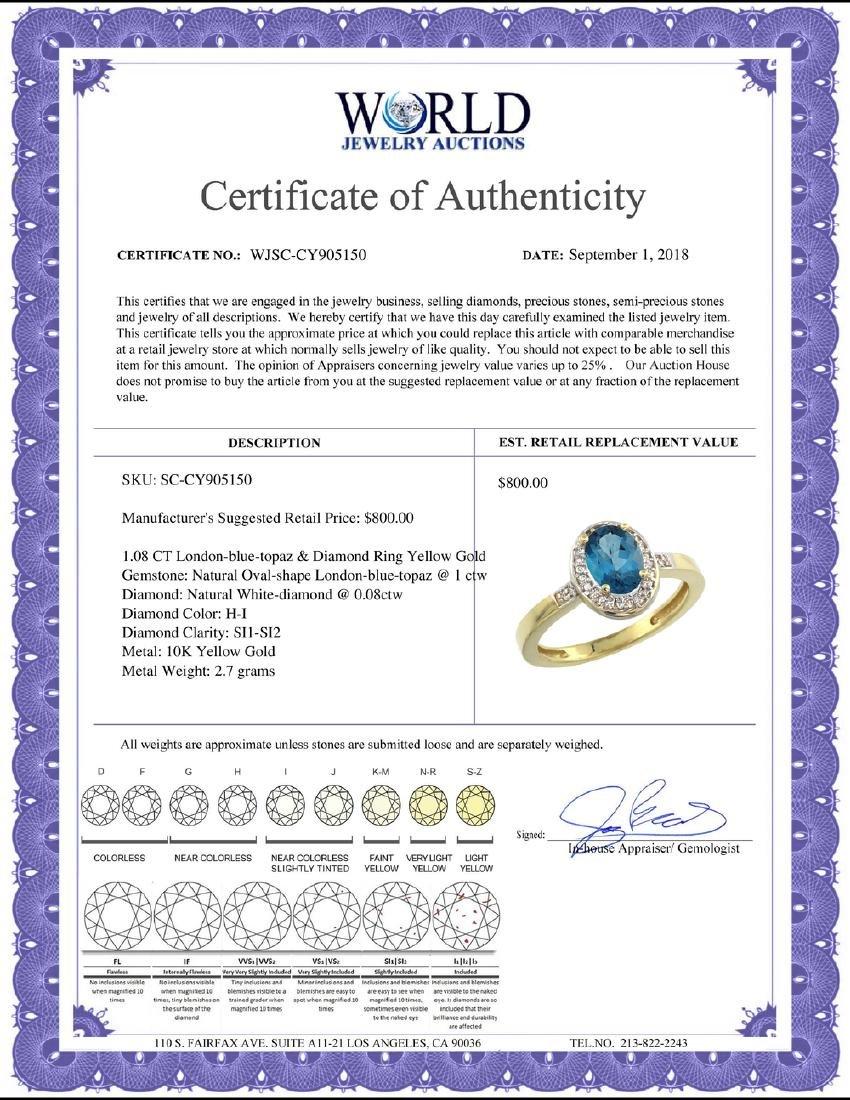 Natural 1.08 ctw London-blue-topaz & Diamond Engagement - 2