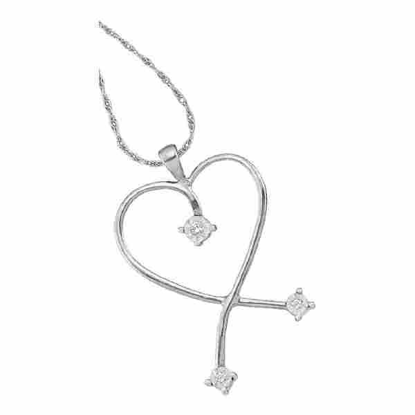 0.04 CTW Diamond Heart Pendant 10KT White Gold -