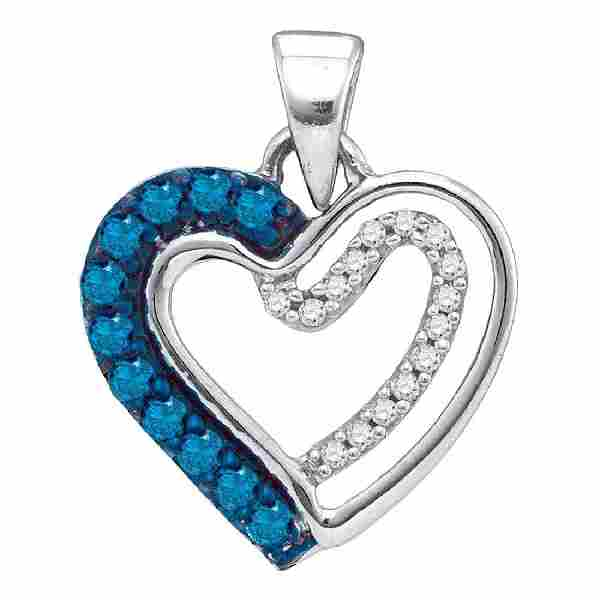 0.20 CTW Blue Color Diamond Double Nested Heart Pendant