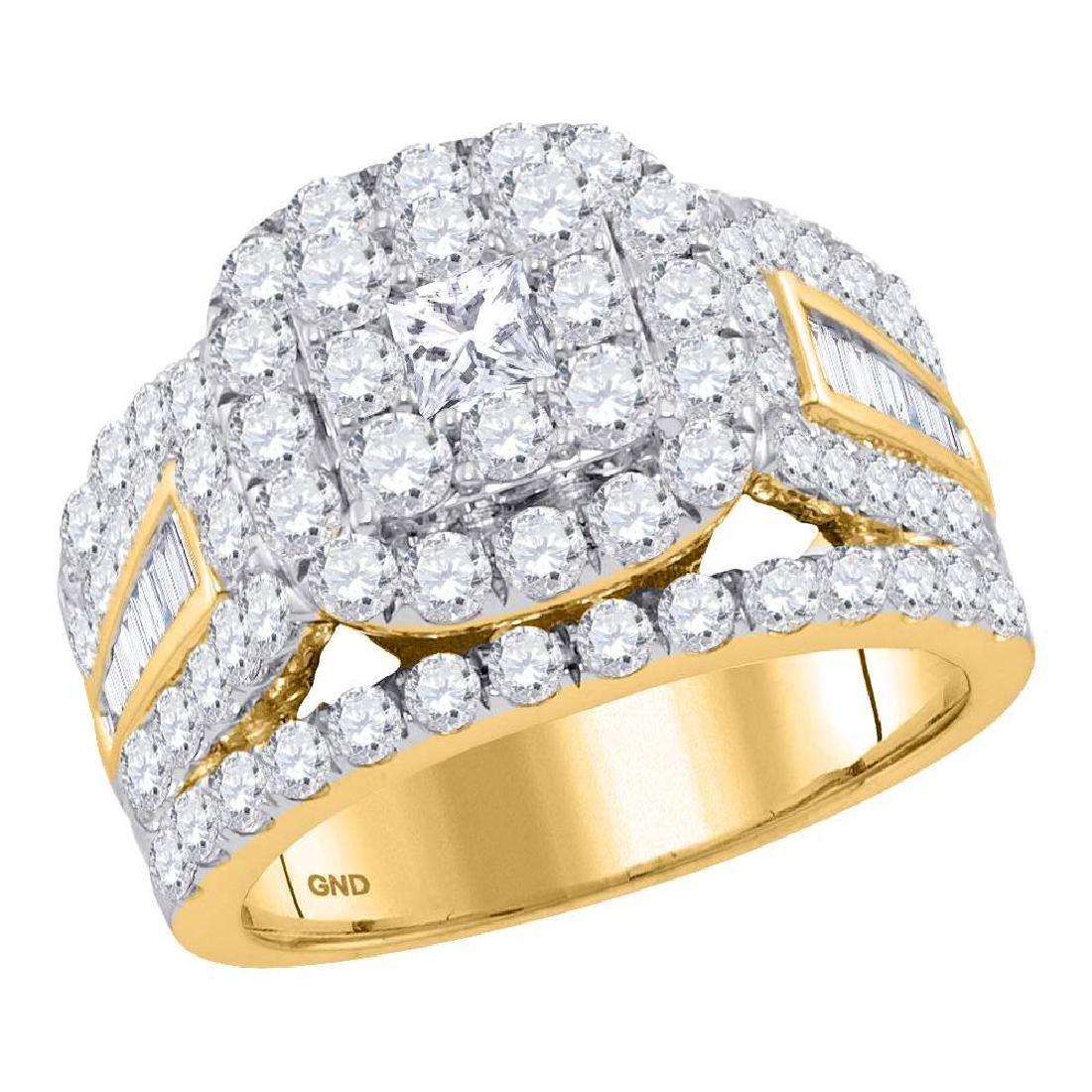 3.01 CTW Princess Diamond Solitaire Halo Bridal