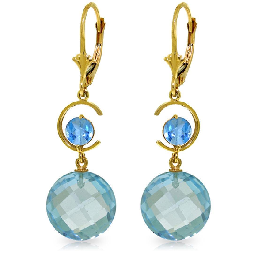 Genuine 11.60 ctw Blue Topaz Earrings Jewelry 14KT