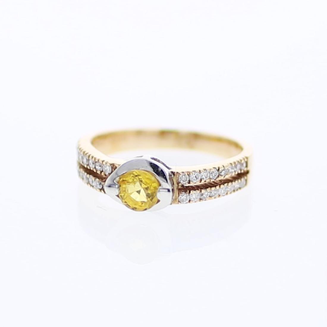 0.93 CTW Yellow Sapphire & Diamond Ring 14K 2Tone Gold