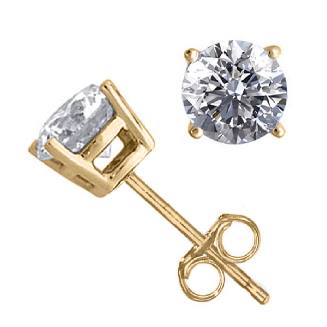 14K Yellow Gold 1.54 ctw Natural Diamond Stud Earrings