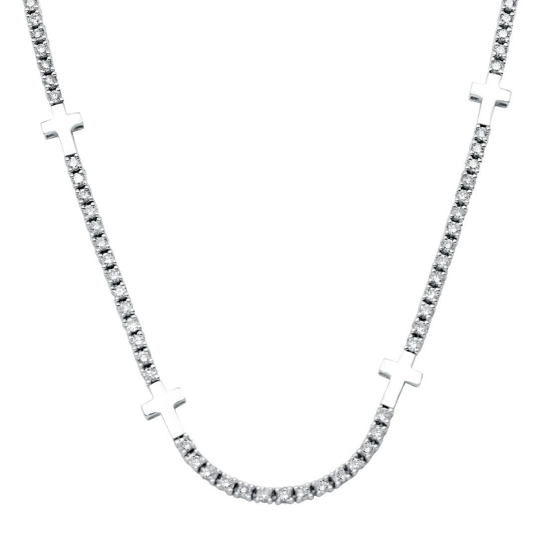 3.08 CTW Diamond Necklace 18K White Gold - REF-182M4F