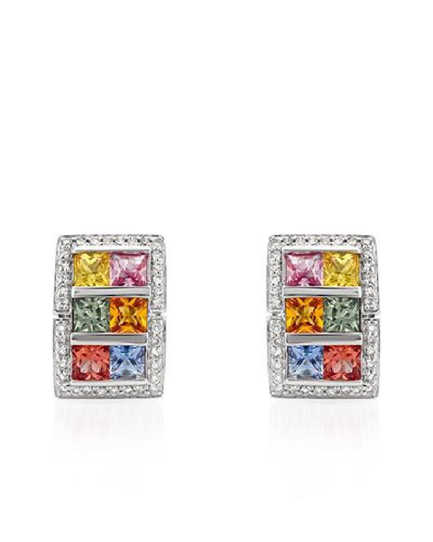 5.36 CTW Multi-Color Sapphire & Diamond Earrings 18K