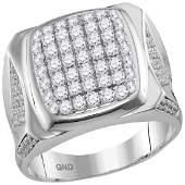2 CTW Mens Diamond Square Cluster Ring 10KT White Gold