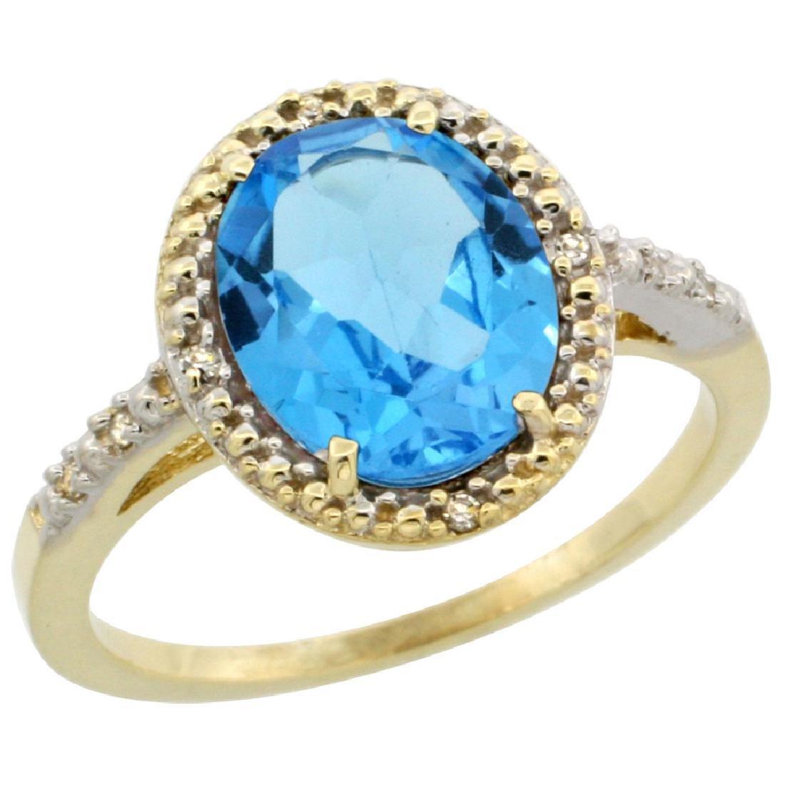 Natural 2.42 ctw Swiss-blue-topaz & Diamond Engagement