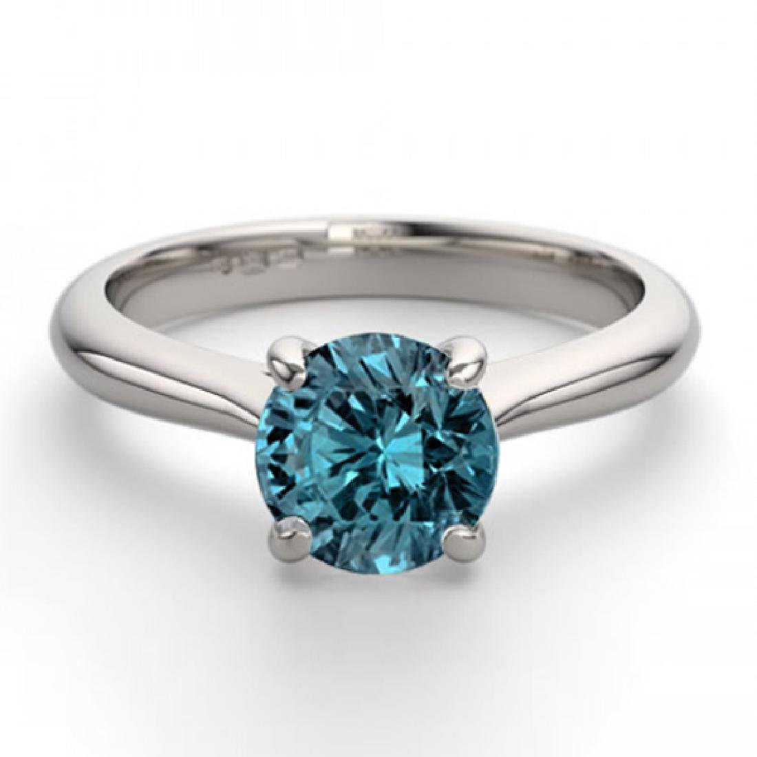 14K White Gold 0.91 ctw Blue Diamond Solitaire Ring -