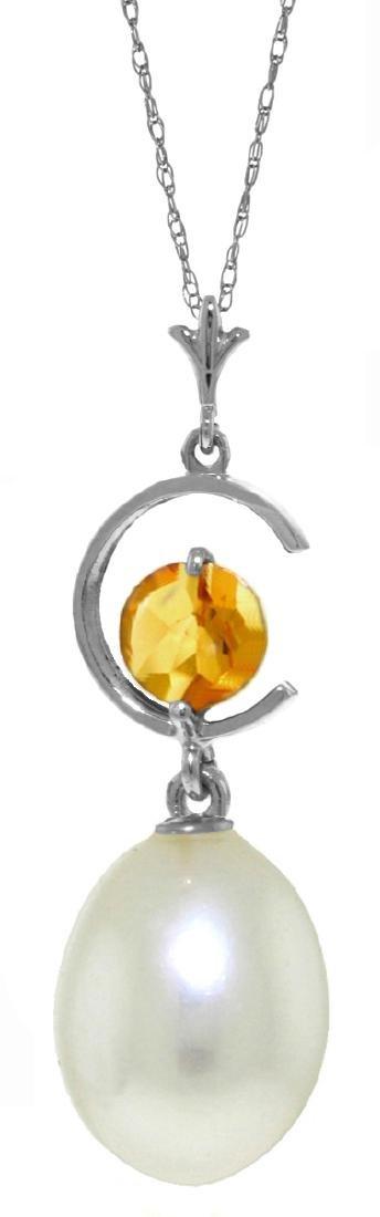 Genuine 4.5 ctw Pearl & Citrine Necklace Jewelry 14KT