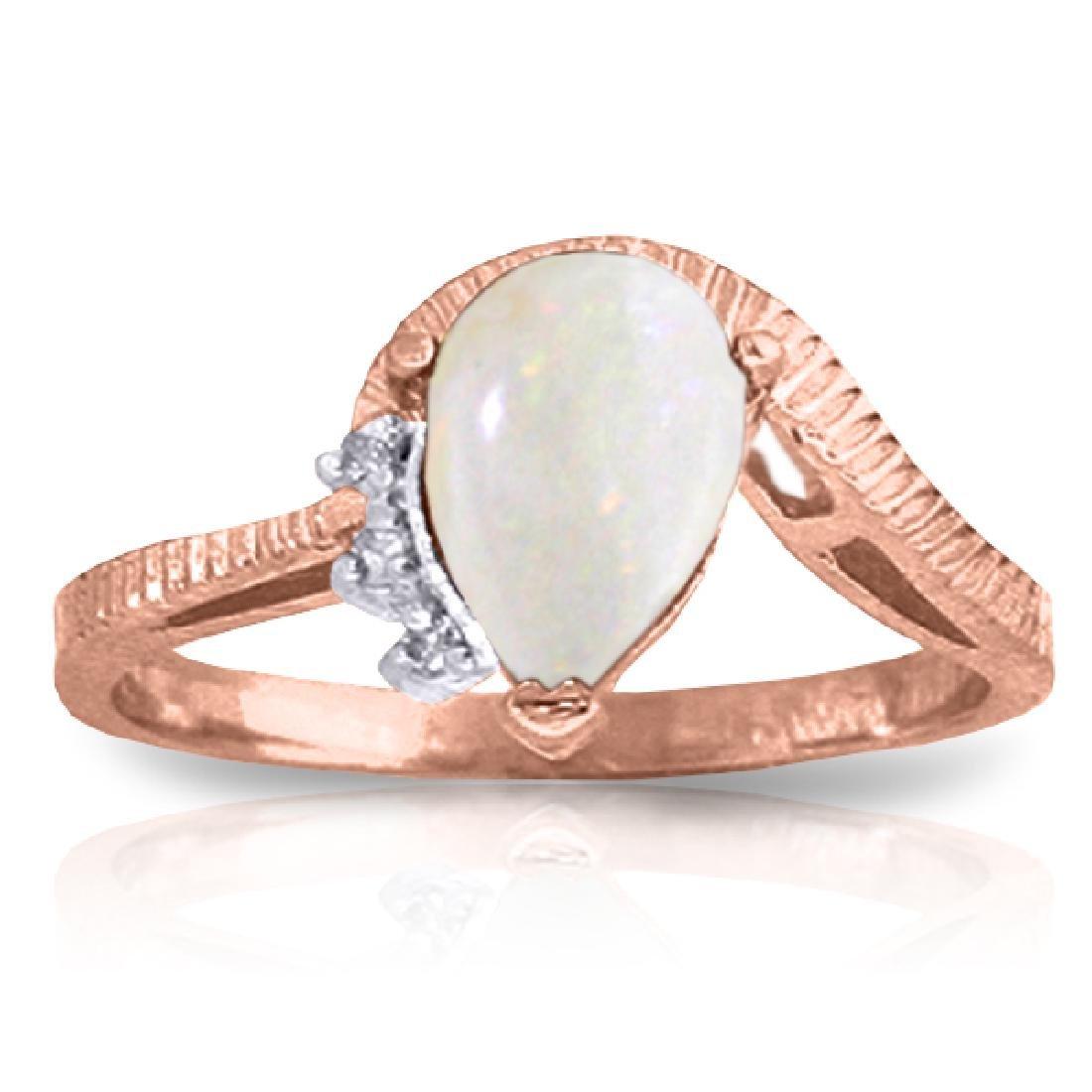 Genuine 0.79 ctw Opal & Diamond Ring Jewelry 14KT Rose