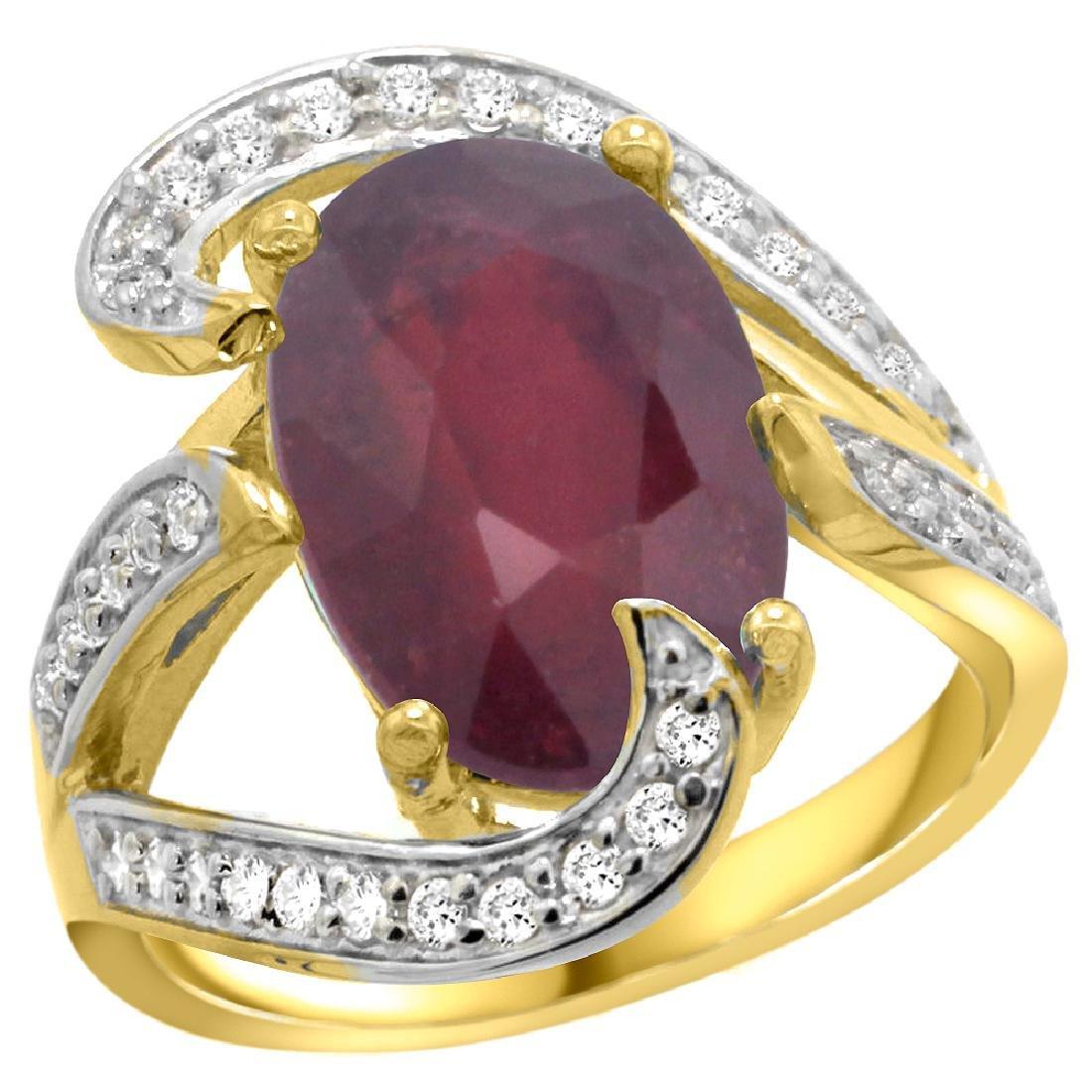 Natural 6.74 ctw ruby & Diamond Engagement Ring 14K