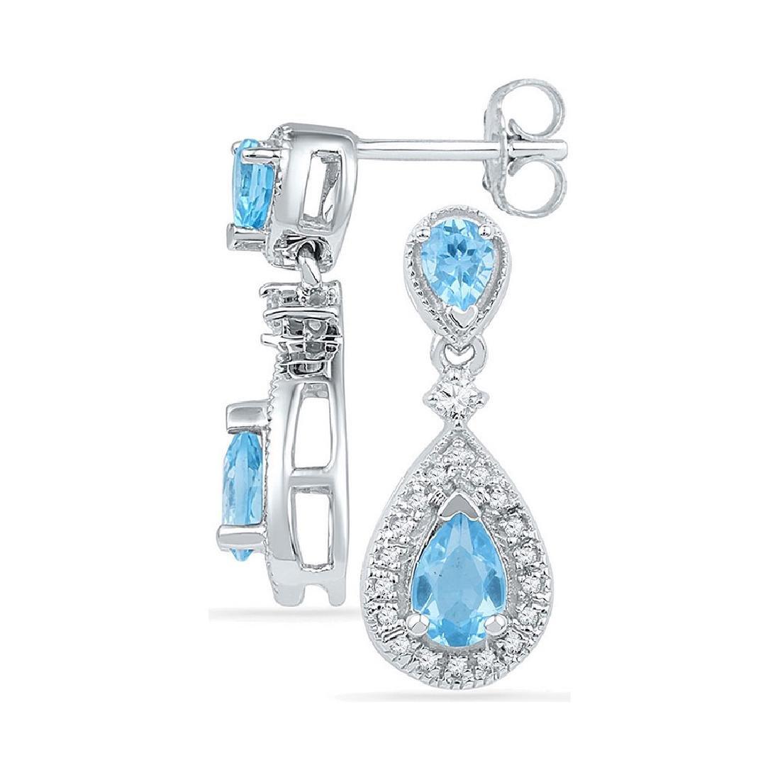 1.46 CTW Pear Created Blue Topaz Dangle Diamond