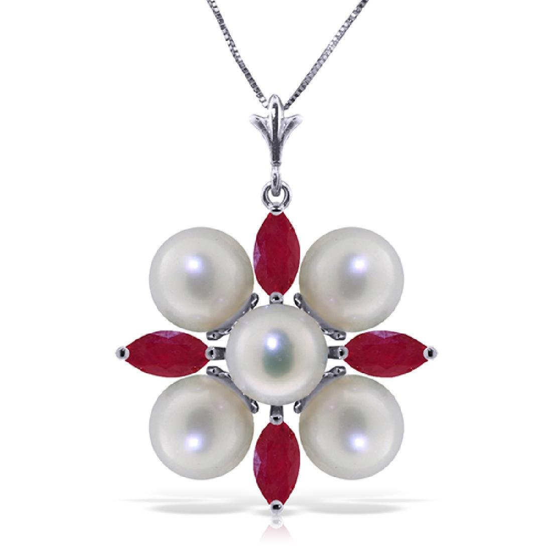 Genuine 6.3 ctw Ruby & Pearl Necklace Jewelry 14KT