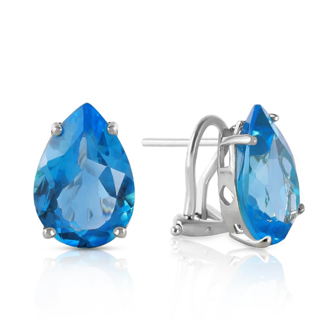 Genuine 10 ctw Blue Topaz Earrings Jewelry 14KT White
