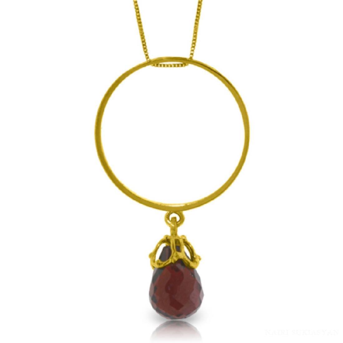 Genuine 3 ctw Garnet Necklace Jewelry 14KT Yellow Gold