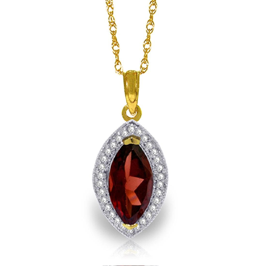 Genuine 2.15 ctw Garnet & Diamond Necklace Jewelry 14KT