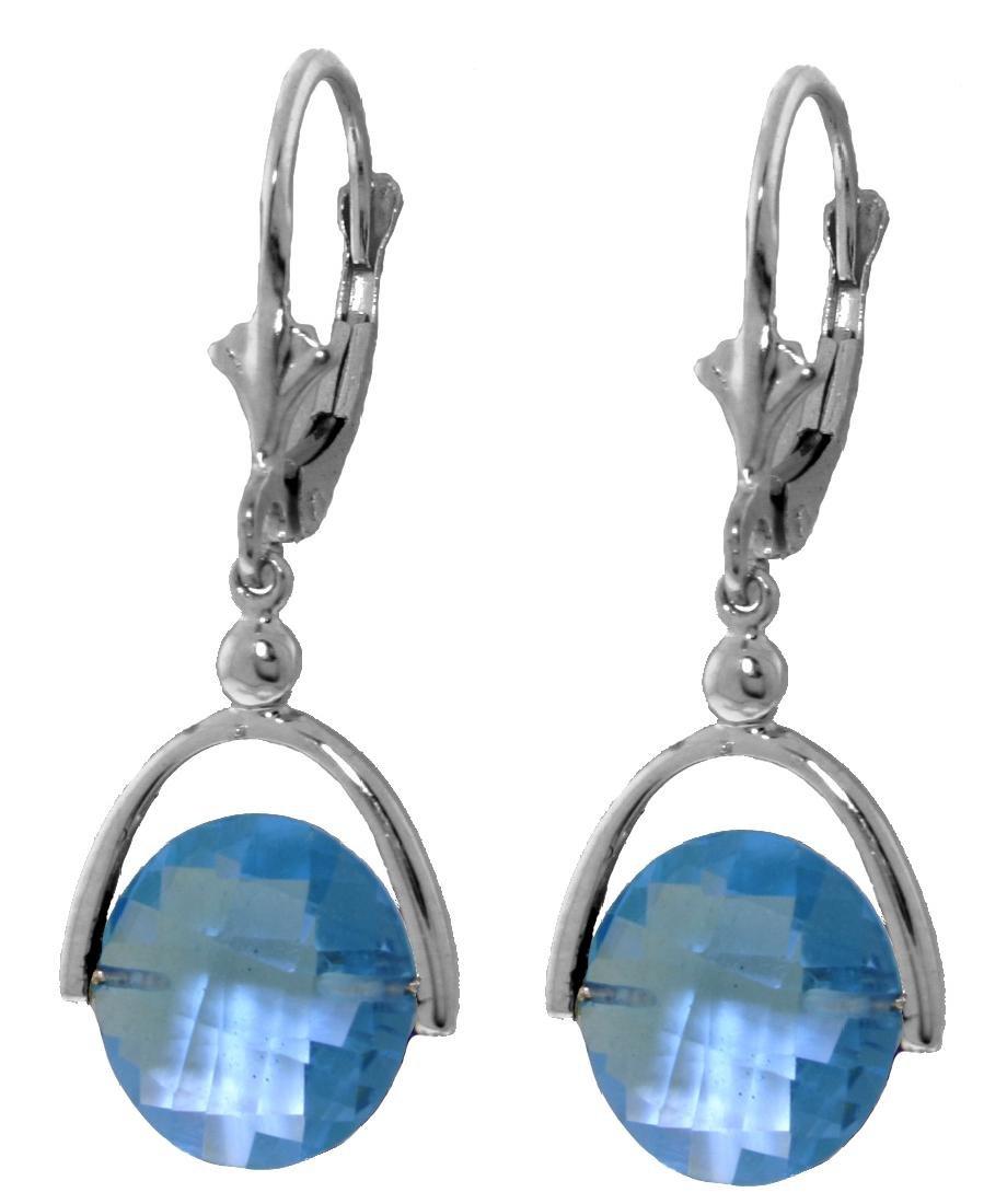 Genuine 6.5 ctw Blue Topaz Earrings Jewelry 14KT White