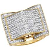 079 CTW Mens Diamond Arched Square Cluster Ring 10KT