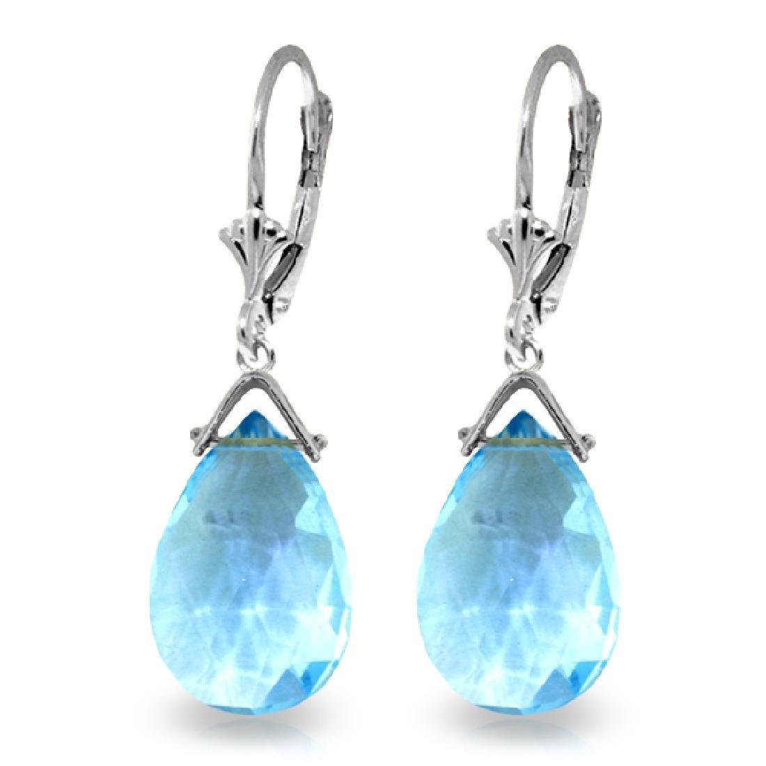 Genuine 10.20 ctw Blue Topaz Earrings Jewelry 14KT