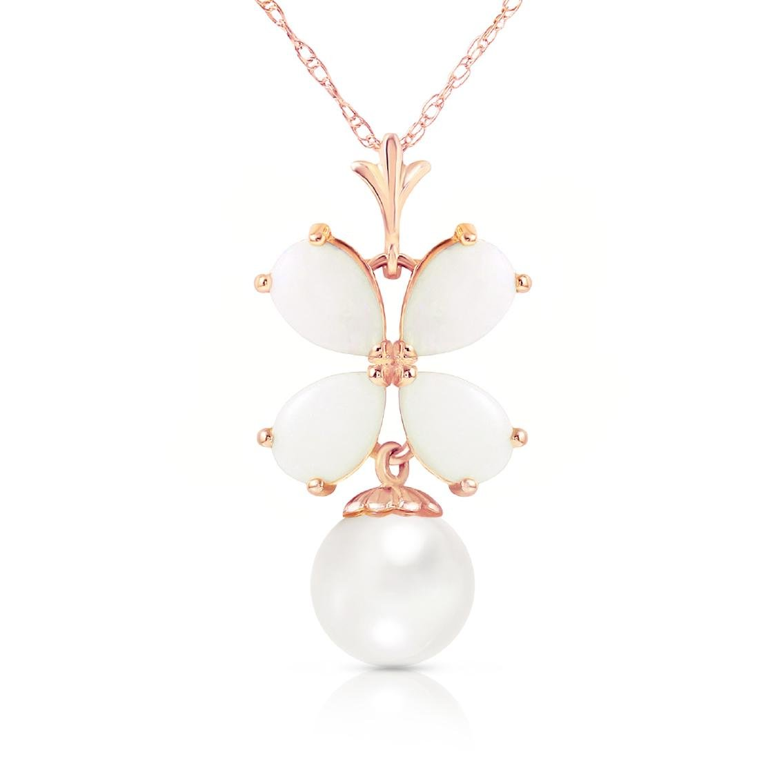 Genuine 3 ctw Opal & Pearl Necklace Jewelry 14KT Rose