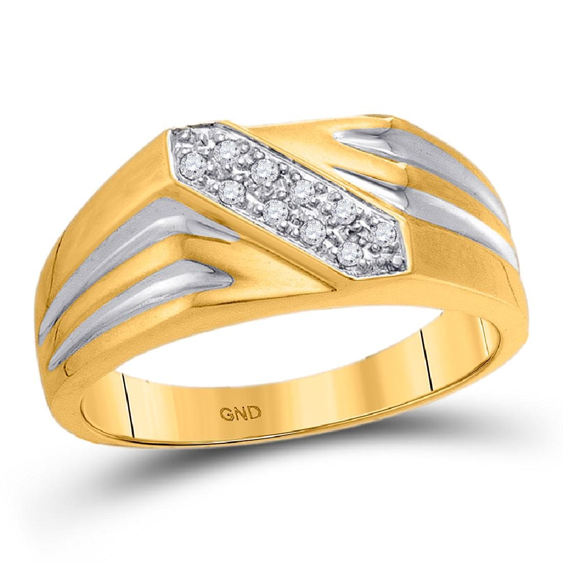 0.10 CTW Mens Diamond Ring 10KT Yellow Gold - REF-19Y4X