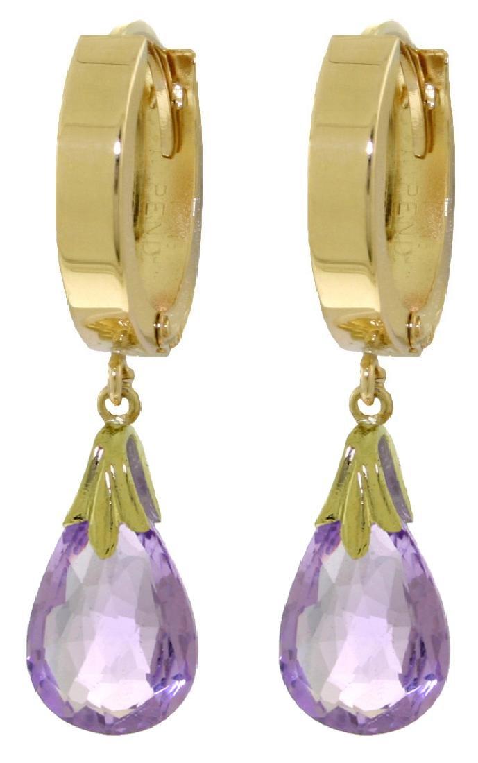 Genuine 6 ctw Amethyst Earrings Jewelry 14KT Yellow