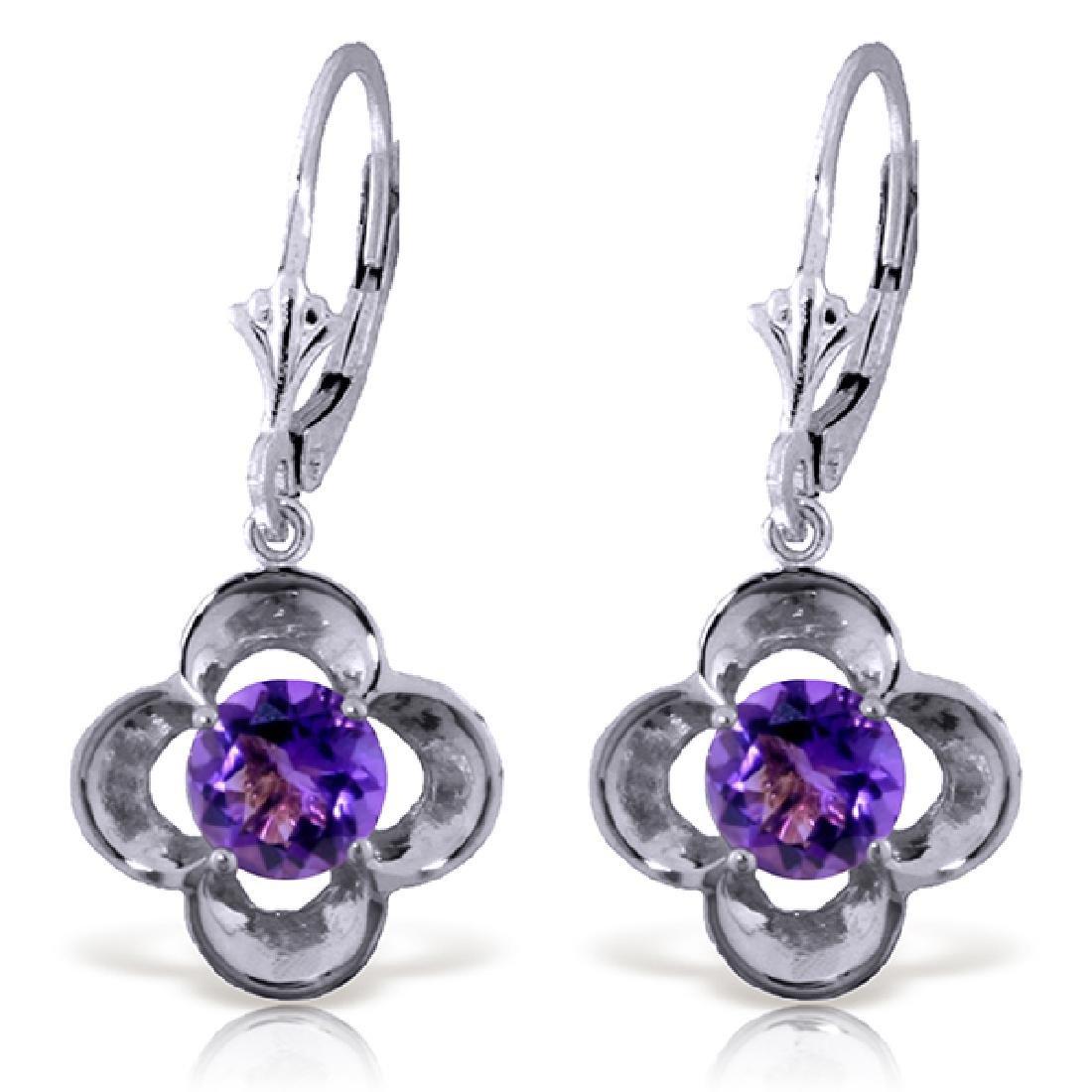 Genuine 1.10 ctw Amethyst Earrings Jewelry 14KT White