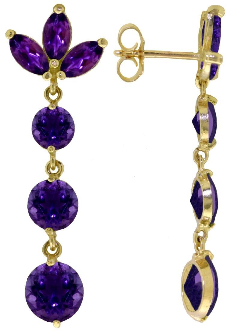 Genuine 8.7 ctw Amethyst Earrings Jewelry 14KT White