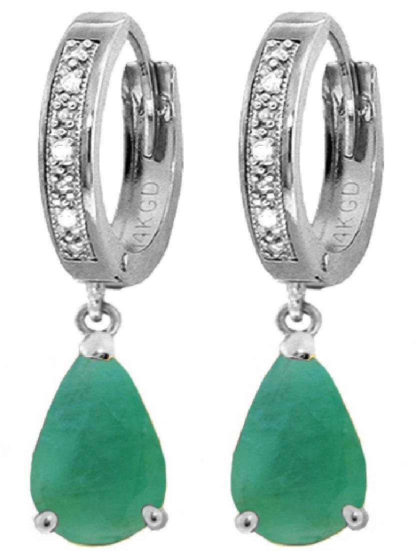 Genuine 2.03 ctw Emerald & Diamond Earrings Jewelry