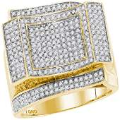 089 CTW Mens Diamond Square Cluster Ring 10KT Yellow