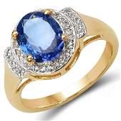 222 CTW Tanzanite Blue Sapphire  Diamond Ring 10K