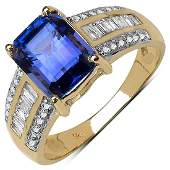 276 CTW Tanzanite  044 CTW Diamond Ring 14K Yellow